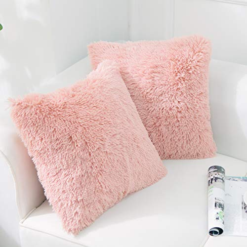 NordECO HOME Luxury Soft Faux Fur Fleece Cushion Cover Pillowcase Decorative Throw Pillows Covers, No Pillow Insert, 18' x 18' Inch, Pink, 2 Pack