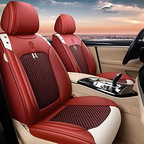 YDF Asientos Fundas universales de Cuero para Asientos de automóvil, Fundas para Asientos Conjuntos de Lujo, Compatible con Fundas para Asientos de automóvil Estilo Airbag, (Size:5座套,Color:Rojo)