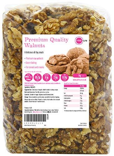 PINK SUN Noce Metà e Pezzi 1kg Naturali Crudo Non Salate Sgusciate Pelli Su Non Tostate 1000g Non OGM Raw Walnut Halves and Pieces Natural Nuts Unsalted Bulk