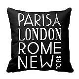 637 Couch Cushions París Londres Roma Y La Ciudad De Nueva York Throw Pillow Cover Square Home Funda De Cojín para Sofá Funda Decorativa De Dos Lados con Cremallera Oculta Funda De Al