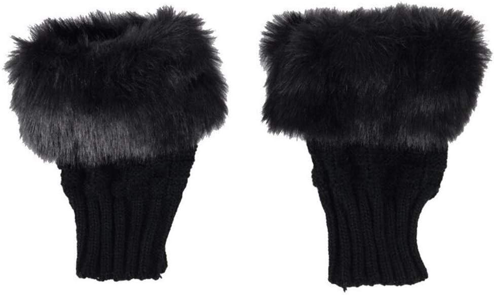 FASGION Fashion Winter Women Gloves Plush Faux Fur Knitting Wool Keep Warm Short Mitten Fingerless Lady Girl Half Finger Glove (Color : Black)