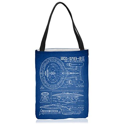 VOID NCC-1701-D Blaupause Tasche Einkaufs-Beutel Polyester Shopper Einkaufs-Tasche Bag Trek Trekkie Star, Polyestertasche Größe:Medium