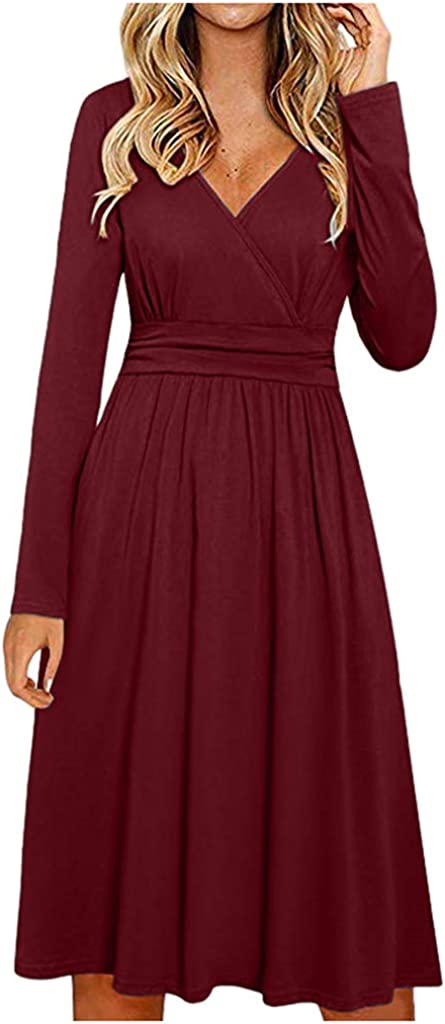 Dresses for sold out Women Womens V Neck Wedding Tampa Mall 3 Guest Casual Sleeve 4