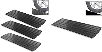 Pyle Car Driveway Adjustable Curb Ramps - 3 Pack Heavy Duty Rubber Threshold Ramp Kit Set w/ Car Driveway Curb Ramp - Heavy Duty Rubber Threshold Ramp - Also for Loading Dock, Garage, Sidewalk