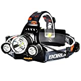 Boruit RJ-3000 LED Headlamp Headlight with Red Light Rechargeable Waterproof...