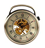 Carrie Hughes Men's Bronze Tone Open face Steampunk Skeleton Mechanical Pocket Watch with Chain CH336