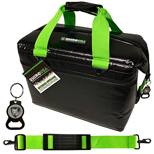Rhino USA Extreme Outdoor Adventure Cooler (12-Can) Upgraded Metal Clips, Shoulder Strap & Bottle Opener - Easily Holds Ice for 24 Hours - Soft Sided Insulated Bag for Lunch, Travel, Camping Etc.