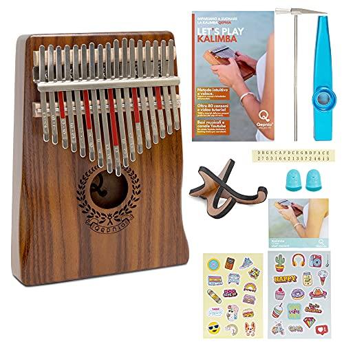 Qepnia Kalimba Professionale 17 Tasti Strumento Musicale in Legno Portatile Tastiera A Pollice Musica Dal Suono Dolce Kit Completo Di Kazoo Martello Accordatore Borsa Canzoniere Adesivi Porta Kalimba