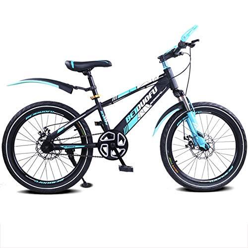 BNMKL Bicicleta De Montaña para Niños 16/18/20 Pulgadas, Niños Y Niñas Bicicletas Suspensión Delantera, Mountain Bike para Niños De 5 A 14 Años,Azul,18inch