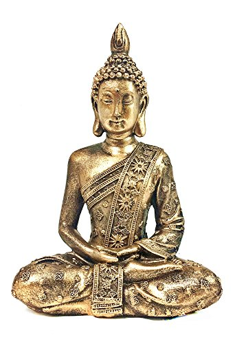 Bellaa Buddha Statues Meditating Sitting Blessing Dhyana Mudra Pose Serene Shakyamuni Budha Praying Idol Rustic Yoga Sculpture