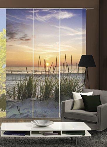 """Home Fashion 88790-111 Tenda a Pannello """"Evening"""", Soggetto: Spiaggia, Stampa Digitale, Set da 3 Pezzi, in Tessuto, Beige, 245 x 60 x 245 cm"""