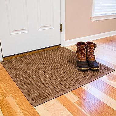 Hudson Exchange Waterhog Fashion Polypropylene Fiber Entrance Indoor/Outdoor Floor Mat, 35  L x 35  W, 3/8  Thick, Medium Brown