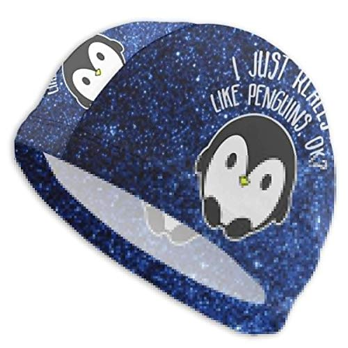 HFHY J'aime Vraiment Les Pingouins Ok Adult Summer Beach Beach Bath Caps for Men Women Unisex