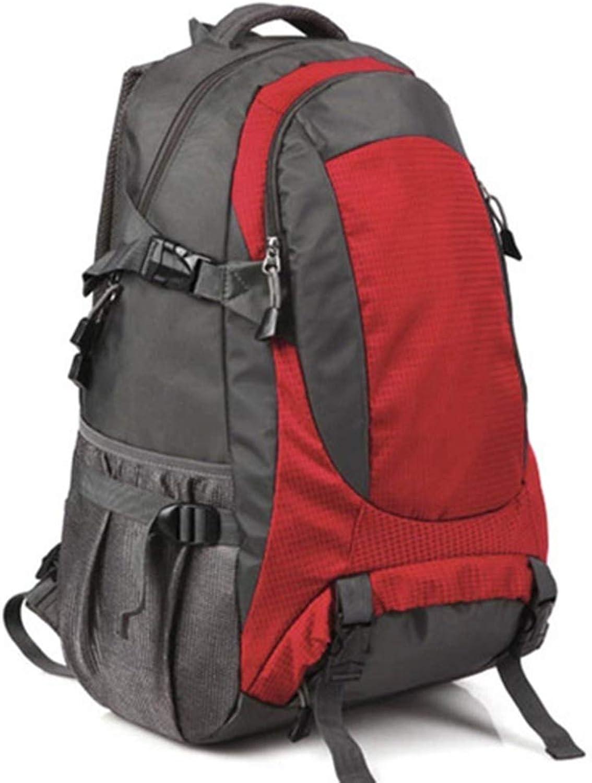 LISAWEI Reiserucksack Draussen Segeltuch Bergsteigen Rucksack Camping Grosse Kapazitt Rucksack Geeignet für Mnner und Frauen 4 Farben (Farbe   rot, gre   32x20x56cm)