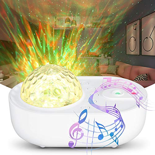 TTAototech Proyector de Luz Estelar,10 Modos Proyector LED Color Reproductor de Música con Bluetooth Temporizador Remoto, Romántica luz de la Noche Perfecto Regalo para Bebés