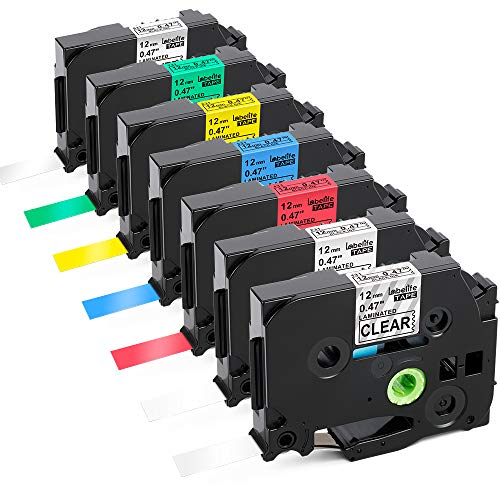 Labelife Compatible Label Tape Replacement for TZe TZ Tape 12mm 0.47 Laminated Black on Clear/White/Red/Blue/Yellow/Green/Silver Label Tape for Brother Ptouch PT-D210 PT-D400, 26.2 Feet (8m), 7-Pack