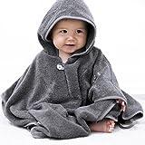 Mabyen Baby Poncho - Babybademantel Kapuzenbademantel Badehandtuch 100% Baumwolle Grau & Hellgrau Bekannt Aus'Die Höhle Der Löwen'