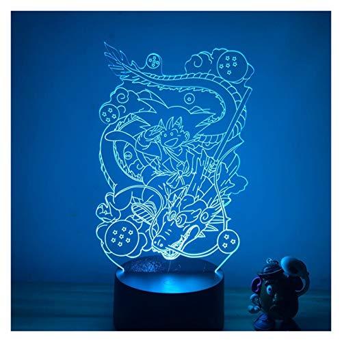 Yanqhua Lámpara de Techo Goku Child Shenron Ver.3D LED Luz Nocturna 7 Colores Tacto óptico ilusión acción lámpara decoración de lámpara Lámpara