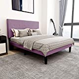 Upholstered Platform Bed Frame Queen Size with Headboard and Footboard/Mattress Foundation/Wood Slat Support/No Box Spring Needed/Easy Assembly,Pink