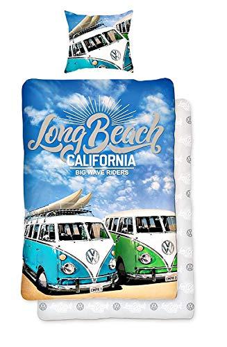 Volkswagen VW Bulli T1 California Long Beach Bettwäsche Renforce 135x200 80x80