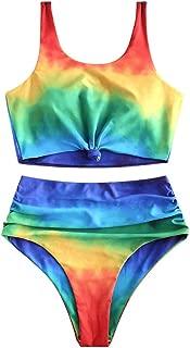 ZAFUL Tie Dye Bikini Set Knot Ruched Rainbow Tankini High Waisted Tank Bathing Suit