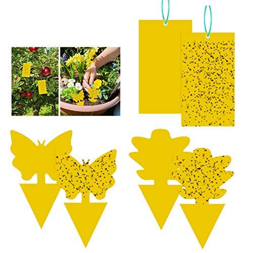 Fullsexy 54 Piezas de Trampa para Moscas Colgando y Placas Amarillas enchufables Planta de protección de Pegatina Amarilla de los pulgones Mosquitos, Moscas de Hoja y Moscas Blancas