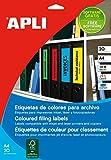 APLI 1374 - Etiquetas amarillas para archivo 190,0 x 61,0 mm