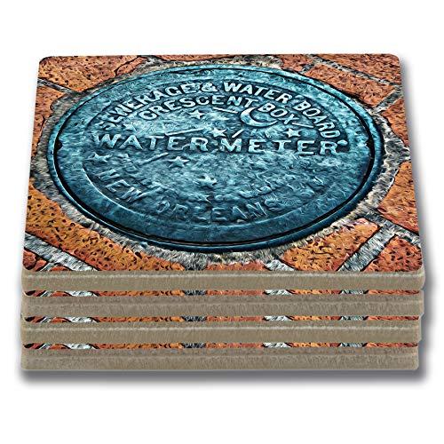 EXIT82ART – Stone Drink Untersetzer (Set mit 4 Stück) New Orleans French Quarter Wasserzähler Trommelstein, Kork-Rückseite.