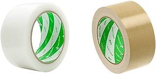 ニチバン フィルムクロステープ 養生テープ 50mmX25m 白 185-50 & 布テープ 50mm×25m巻 121-50 黄土