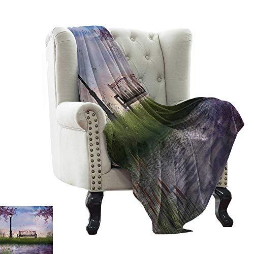 BelleAckerman - Manta para sofá, diseño de montaña Belukha por el Lago con Picos de Nieve, Color Verde y Azul Claro