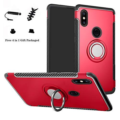 LFDZ Xiaomi Mi Mix 2S Hülle, 360 Rotation Verstellbarer Ring Grip Stand,Ultra Slim Fit TPU Schutzhülle für Xiaomi Mi Mix 2S (Nicht für Xiaomi Mi Mix 2),Rot
