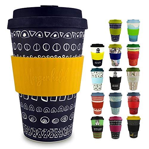Morgenheld Dein trendiger Bambusbecher | Coffee-to-Go-Becher | Kaffeebecher mit Silikondeckel und Banderole in coolem Design 400 ml (Blacky - sun)