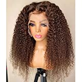 Tianzxiu Indian Highlight Brown Kinky Curly Human Hair Wigs with Baby Hair 180Density Deep Part Ombre 13×4 Lace Front Wigs Bleached Knots 18 Inch