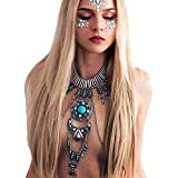 Boho Statement Turquoise Necklace Crossover Harness Bikini Waist Belly Sexy Body Chains for Women (Silver)