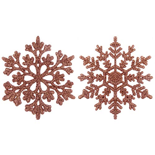 SY CRAFT 3.9'/38 Pieces Plastic Snowflake Ornaments Christmas Glitter Snowflakes Hanging Crafts for Christmas Tree Decorations(Rose Gold)