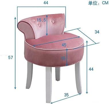 Chaise de vanité rembourrée en velours rond, tabouret de vanité à dossier bas, siège de banc de surface rembourré avec pieds
