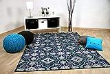 In & Outdoor Teppich Flachgewebe Carpetto Fliesenoptik Blau in 4