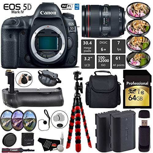 Best Buy! Canon EOS 5D Mark IV DSLR Camera with 24-105mm f/4L II Lens + Professional Battery Grip + ...