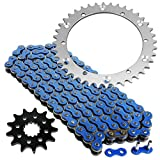 Caltric Blue Drive Chain And Sprockets Kit Compatible With Yamaha Raptor 660R Yfm660R 2001-2005