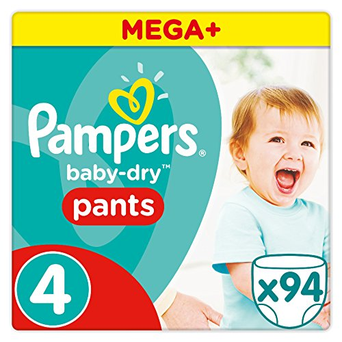 Pampers - Baby Dry Pants - Juego de 94 pañales desechables, talla 4 (8-14 kg) - Mega + Pack