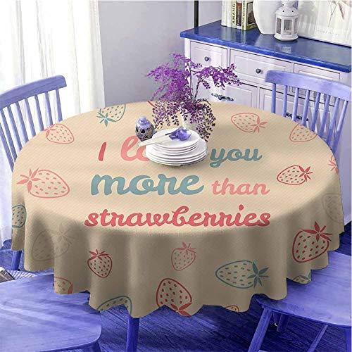 Mantel redondo con texto 'I Love You More con texto 'Fun Cita' y 'Pastel de San Valentín fresa para parientes de 119,4 cm de diámetro, color marrón y coral
