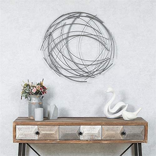 Pemberly Row Abstract Iron Sticks Wall in Silver Round New products world's highest quality Today's only popular Art