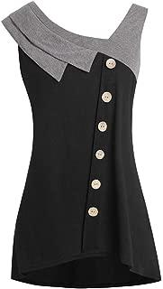 DADKA Womens Vest Fashion Plus Size Skew Neck Asymmetric Tank Top Sleeveless Button T-Shirt