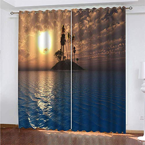 YUNSW Artistic Conception Digital Printing Curtains, Garden Living Room Kitchen Bedroom Blackout Curtains, Perforated Curtains 2 Piece Set