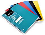 AmazonBasics Wide Ruled Wirebound Spiral Notebook, 70 Sheets, Assorted Solid Colors, 5-Pack