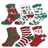 Fascigirl 12 paia di calzini natalizi Santa Deer Fiocco di neve Pupazzo di neve in cotone per le donne