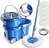 MASTERTOP Spin Mop Bucket - Mop Bucket with Wringer Set, 3.17 Gallon Large Bucket, Stainless Steel Floor Mop Handle, Wheels Easy Move, 5 Microfiber Mop Refills, 1 Floor Brush