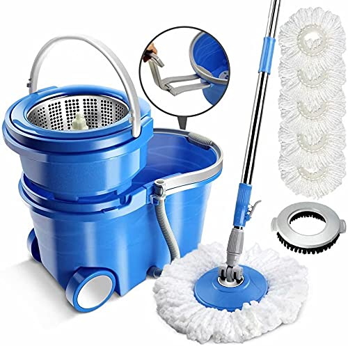 MASTERTOP Spin Mop Bucket with Wringer Set, 3.17 Gallon Large Bucket,...