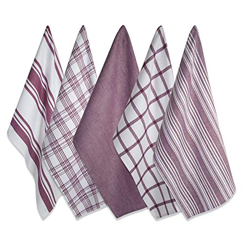 DII Kitchen Dish Towels (Wine, 18x28'), Ultra Absorbent & Fast Drying, Professional Grade Cotton Tea Towels for Everyday Cooking and Baking -  Assorted Patterns, Set of 5