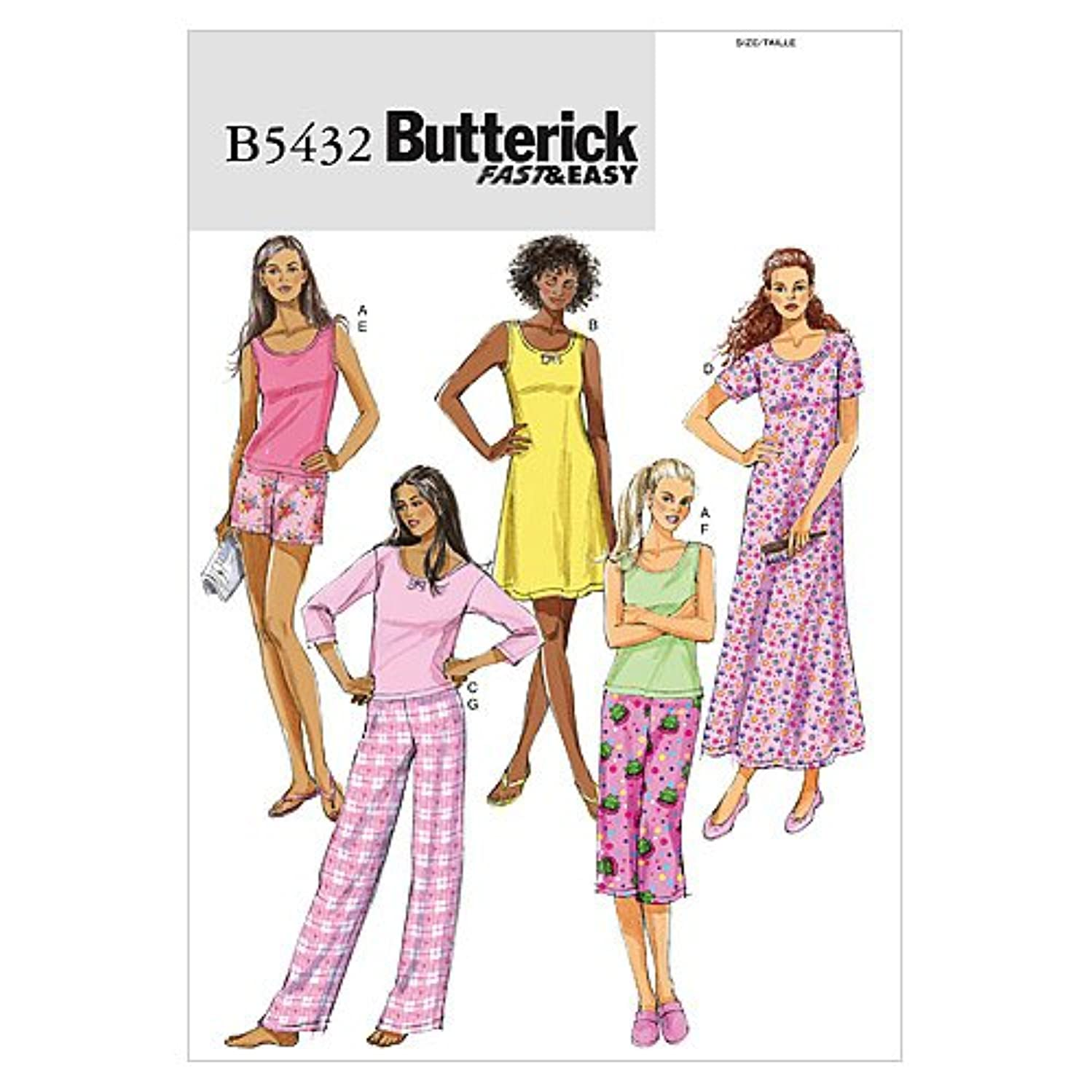 BUTTERICK PATTERNS B5432 Misses'/Misses' Petite Top, Gown, Shorts and Pants, Size Z (LRG-XLG)